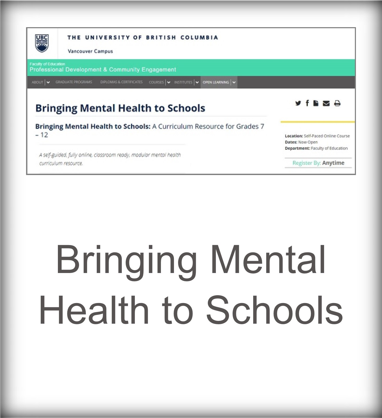 Bringing Mental Health to Schools